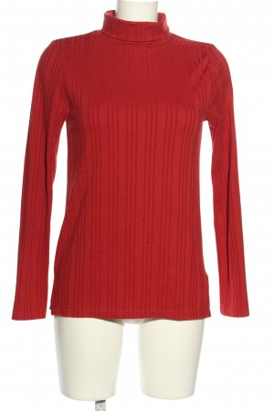 Brave Soul Turtleneck Shirt red striped pattern casual look