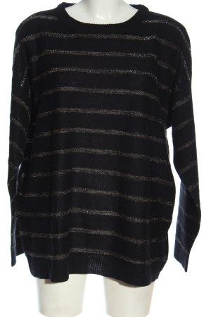Brave Soul Rundhalspullover schwarz-silberfarben Streifenmuster Casual-Look
