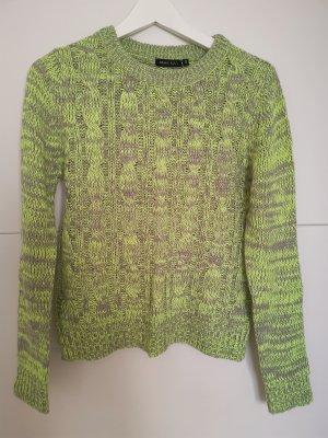 Brave Soul Sweter z dzianiny srebrny-zielona łąka