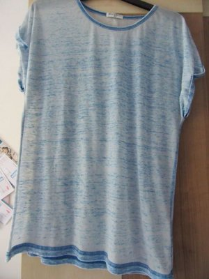 Brave Soul Haut long bleu azur-blanc coton