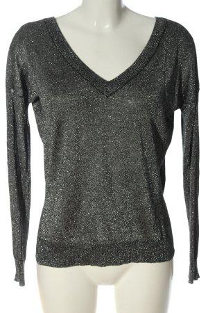 Brave Soul V-Ausschnitt-Pullover schwarz-silberfarben meliert Casual-Look