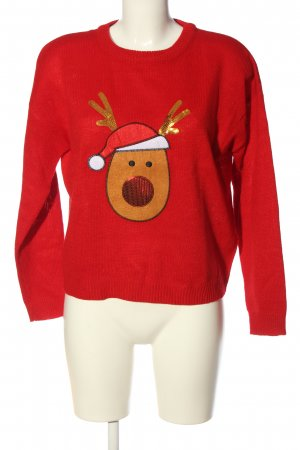 Brave Soul Christmasjumper red themed print casual look