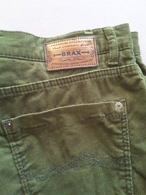 Brax Pantalón de pana caqui-verde bosque Algodón
