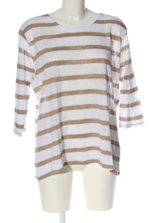 Brax feel Good Cienki sweter z dzianiny biały-brązowy Wzór w paski