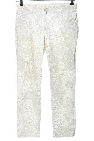 Brax feel Good High Waist Trousers white-light grey allover print casual look