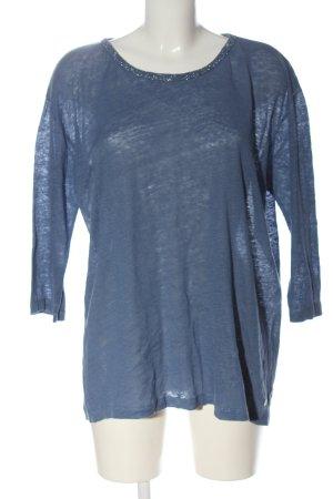 Brax feel Good Blouse en lin bleu moucheté style décontracté