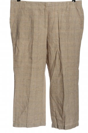 Brax feel Good Lniane spodnie kremowy-brązowy Wzór w kratkę W stylu casual