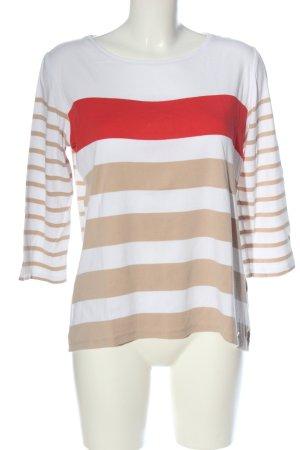 Brax feel Good Koszulka w paski biały-nude Wzór w paski W stylu casual