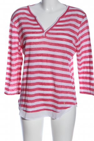 Brax feel Good Gestreept shirt rood-wit gestreept patroon casual uitstraling