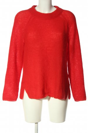 Brax feel Good Kraagloze sweater rood casual uitstraling