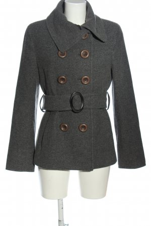 Brax feel Good Wollen jas lichtgrijs gestippeld casual uitstraling