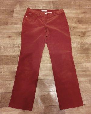Brax Pantalon en velours côtelé orange foncé-rouge carmin coton