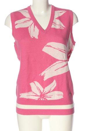 brax golf Sweter bez rękawów z cienkiej dzianiny różowy Wzór w kwiaty