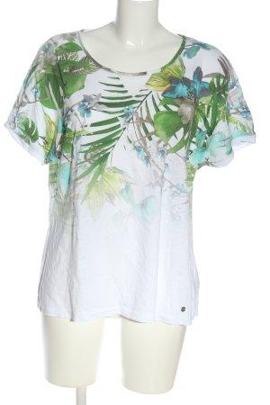Brax Kurzarm-Bluse weiß-grün Blumenmuster Casual-Look