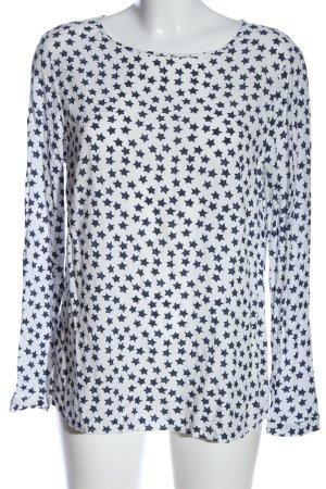 Brax Camicetta a maniche lunghe bianco-blu motivo astratto stile casual