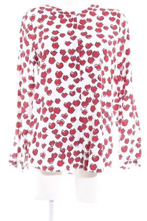 Brax Langarm-Bluse weiß-rot Allover-Druck Casual-Look