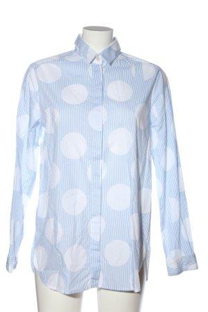 Brax Langarmhemd blau-weiß abstraktes Muster Casual-Look