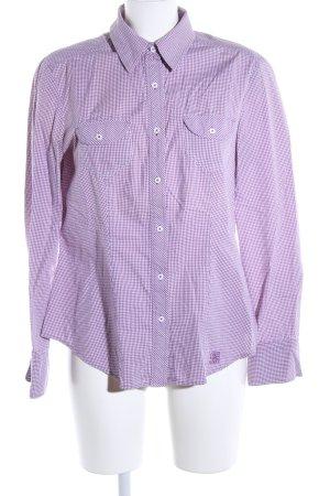Brax Shirt met lange mouwen lila-wit geruite print zakelijke stijl