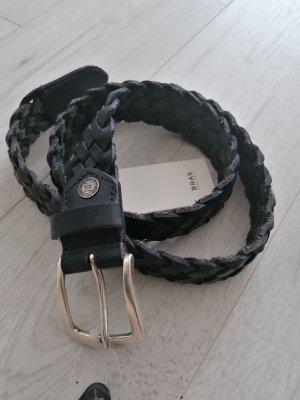 Brax Braided Belt dark blue leather