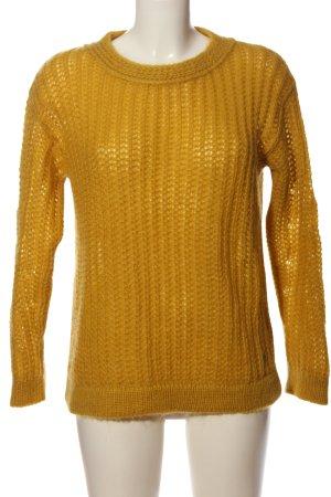 Brax Crewneck Sweater light orange weave pattern casual look
