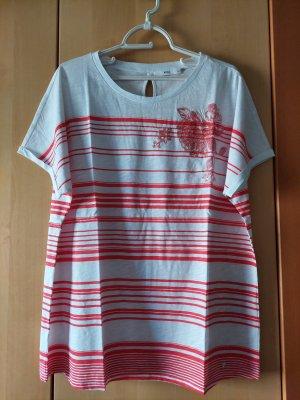Brax Koszulka z dekoltem w łódkę biały-czerwony Bawełna
