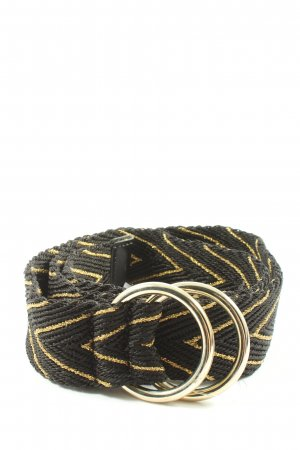 Brax Fabric Belt black-gold-colored striped pattern casual look