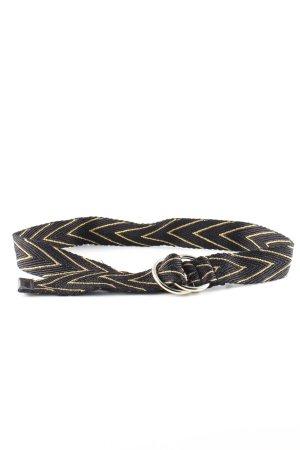 Brax Cintura in tessuto nero-oro motivo grafico stile casual