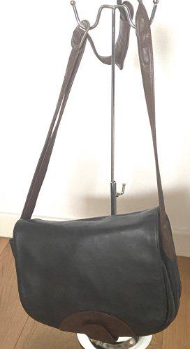 Bree Vintage Leder Messenger groß schwarz-braun