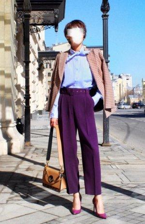 Massimo Dutti Pleated Trousers lilac-dark violet viscose