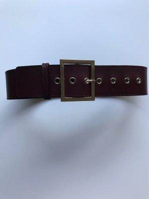H&M Cinturón de cuero de imitación color oro-burdeos
