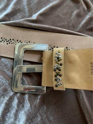 Nurage Leather Belt beige-silver-colored