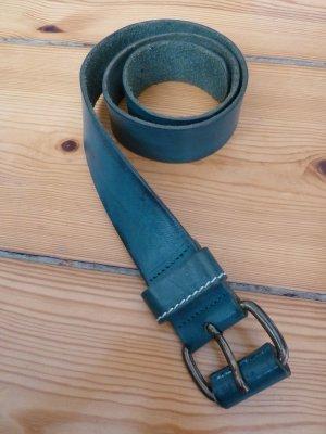 Breiter Ledergürtel Echtleder grün Vintage Länge 80