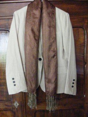 Écharpe à franges brun-doré tissu mixte