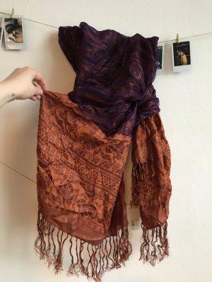 breiter Schal Pashmia orange violett mit Fransen