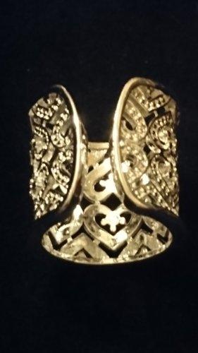 Breiter silberner 925 Offener Ring 3cm mit Herzen  und Zirkonia
