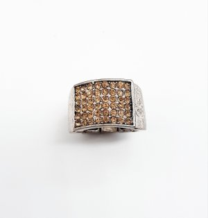 Breiter silberner Ring mit Strass , Universalgröße