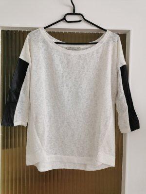 Bershka Siateczkowa koszulka biały-czarny