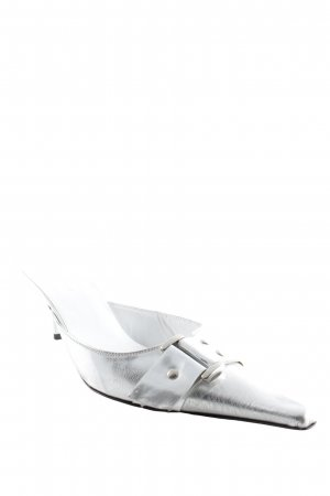 "Breuninger Exquisit Heel Pantolettes ""mokassin"" silver-colored"
