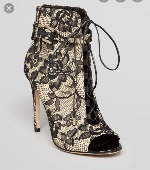 Brian Atwood Open Toe Lace up Ankle Boots