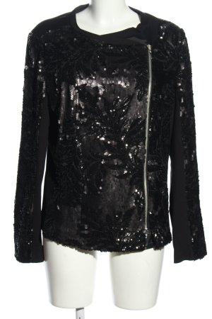 Brian Dales Chaqueta estilo camisa negro-color plata brillante