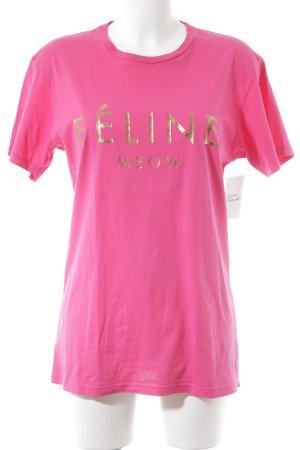 Brian Lichtenberg T-shirt neonroos-goud gedrukte letters simpele stijl