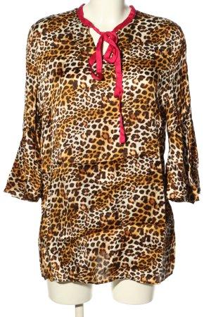 Brian Rennie Lange blouse luipaardprint extravagante stijl