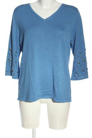 brian Sweter z dekoltem w kształcie litery V niebieski Elegancki