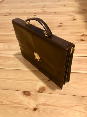 Briefcase dark brown-gold-colored leather