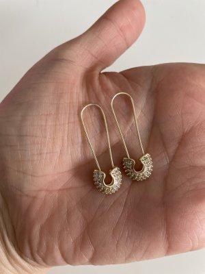 Briefklammern  Ohrringe gold mit Steinen