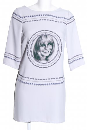 Brigitte Bardot Langarmkleid weiß-blau Motivdruck Casual-Look