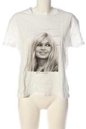 Brigitte Bardot T-shirt wolwit-lichtgrijs gestippeld casual uitstraling