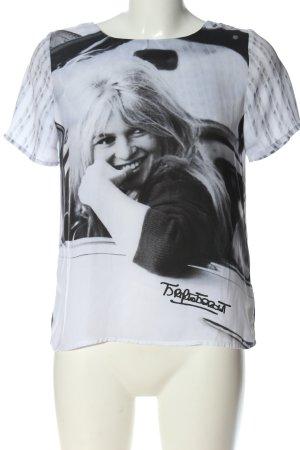 Brigitte Bardot T-shirt lichtgrijs-zwart prints met een thema casual uitstraling