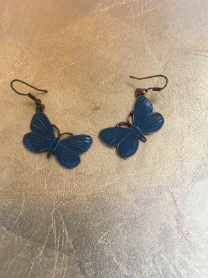 Bijou Brigitte Pendant d'oreille bleu acier-bronze