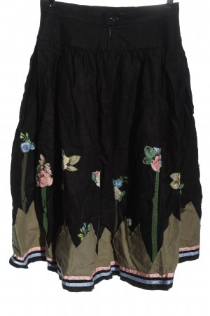 Brigitte Hernuss Jupe en lin motif de fleur style décontracté
